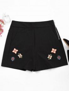 High Waisted Beading Patched Shorts - Black L