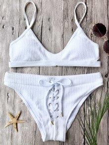 Ensemble Bikini Brassière Côtelé Avec Laçage - Blanc L