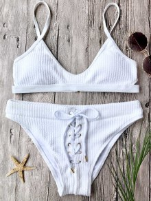 Ribbed Lace Up Bralette Bikini Set - White S