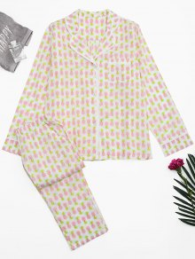 Pineapple Print Pocket Loungewear Suit