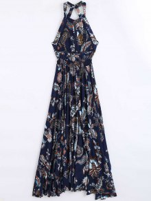 Floral Print Openwork Backless Maxi Dress