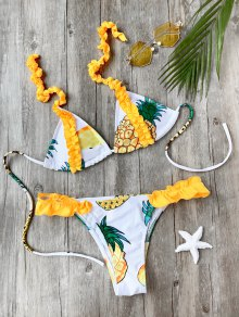 Frilled Pineapple Print Bikini Set