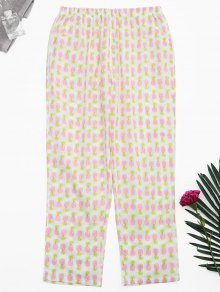Side Pockets Pineapple Print Loungewear Pants