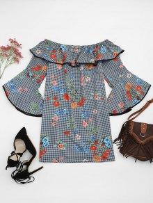 Plaid Floral Off Shoulder Mini Dress
