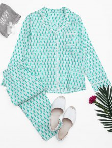 Sea Horse Print Pocket Loungewear Suit
