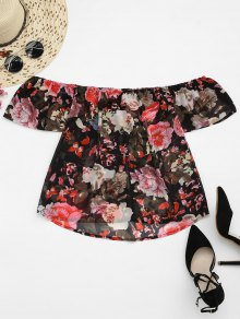 Floral Chiffon Off Shoulder Top