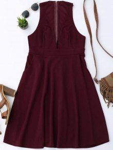 Plunging Neck Sleeveless Flare Dress