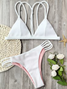 Banded Ribbed Texture Strappy Bikini