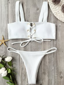Ribbed Texture Lace Up Bathing Suit