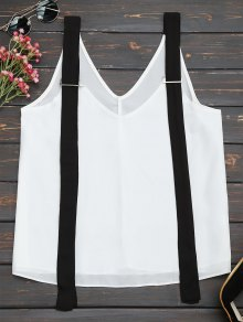 Two Tone Chiffon Tank Top with Straps
