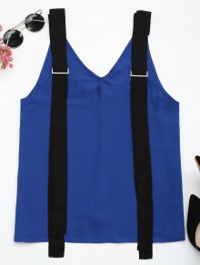 Two Tone Chiffon Tank Top With Straps - Blue And Black M