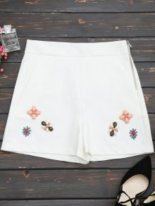 High Waisted Beading Patched Shorts