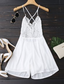 Lace Panel Open Back Cami Romper - Blanc L