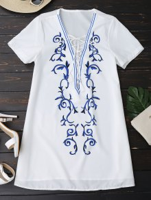 Printed Lace Up Plunging Neck Dress - White L