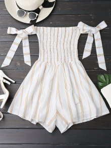 Self Tie Strapless Striped Romper