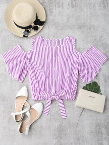 Cold Shoulder Button Up Striped Blouse