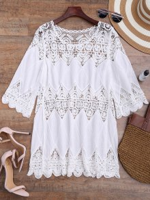 Hollow Out Crochet Panel Cover Up Dress
