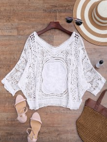 Loose Fitting V Neck Crochet Cover Up - White