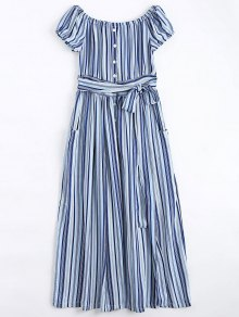 Stripes Button Up Off Shoulder Maxi Dress - Stripe L