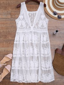 Crochet Panel Square Neck Sheer Cover Up Dress - White