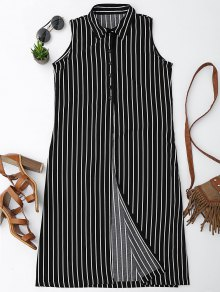 Sleeveless Striped High Slit Shirt