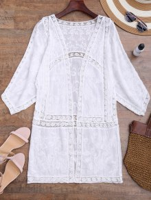 Crochet Panel Open Front Embroidered Cover Up