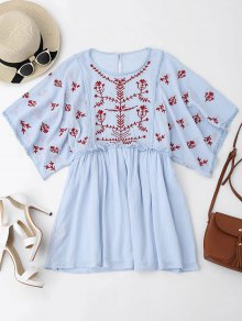 Kimono Sleeve Embroidered Ruffles Mini Dress