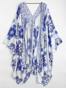 Floral Kimono Cover Up - Blue And White