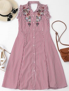 Floral Embroidered Ruffles Cut Out Shirt Dress - Red S
