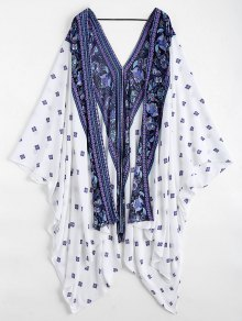 Batwing Paisley Patterned Kimono Cover Up