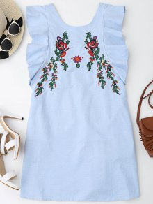 Ruffles Half Buttoned Embroidered Mini Dress