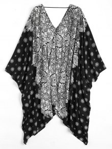 Batwing Sleeve Patterned Kimono Cover Up