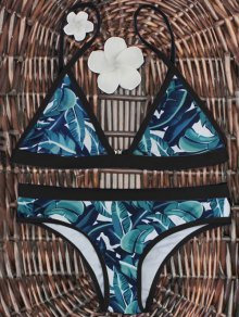 High-Cut Leaf Print Bikini Set - Black And Green M