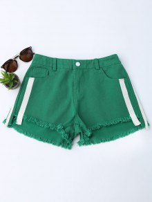 Striped Frayed Hem Denim Shorts