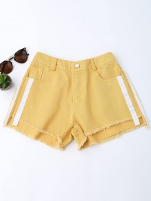 Striped Frayed Hem Denim Shorts - Ginger M