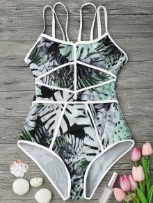 Piping Tropical Print One Piece Swimsuit - White And Green L