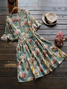 الرباط V فستان طباعة الأزهار الرقبة - الأزهار