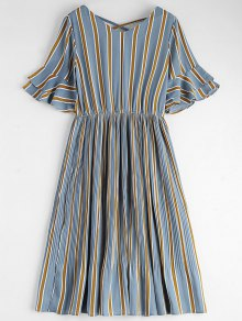 Criss Cross Stripes Pleated Midi Dress