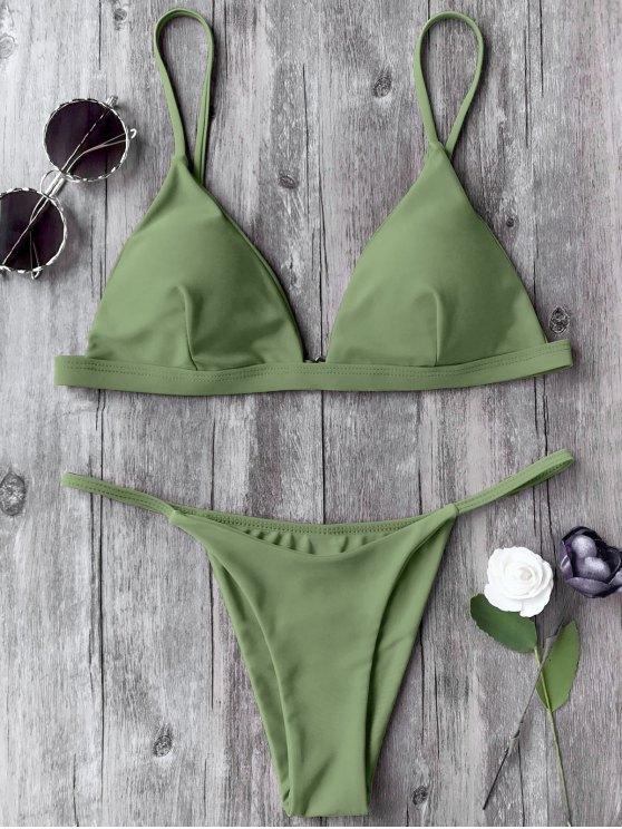 Spaghetti Straps Plunge Tanga Bikini Set - Verde S
