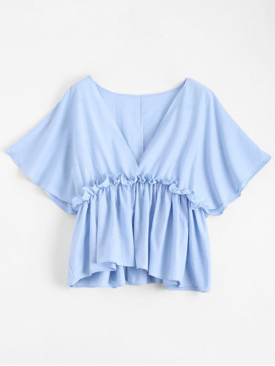 trendy Batwing V Neck Ruffles Top - LIGHT BLUE S