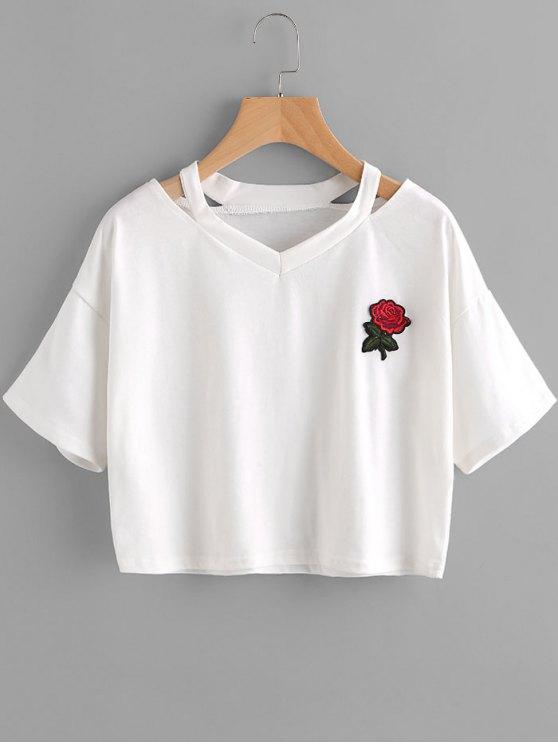 Top de hombro frío bordado floral - Blanco S