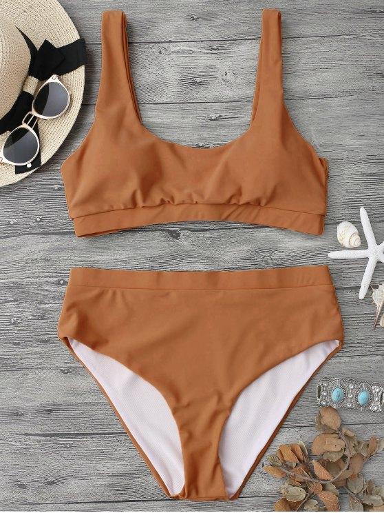 Ensemble de bikini à miettes Bralette Midi - Brun S