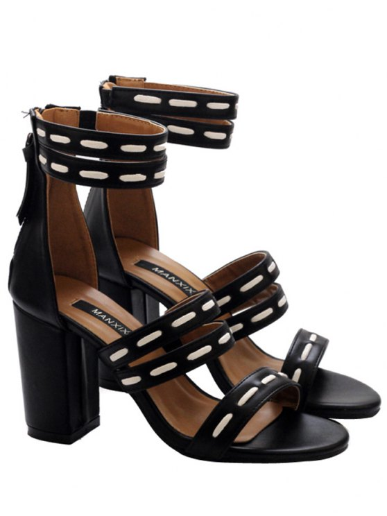 sale Faux Leather Elastic Zipper Sandals - BLACK 39