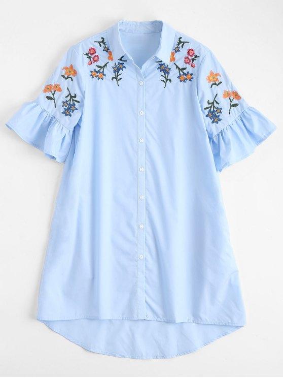 Robe à manches courtes à bas prix brodé - Bleu clair S