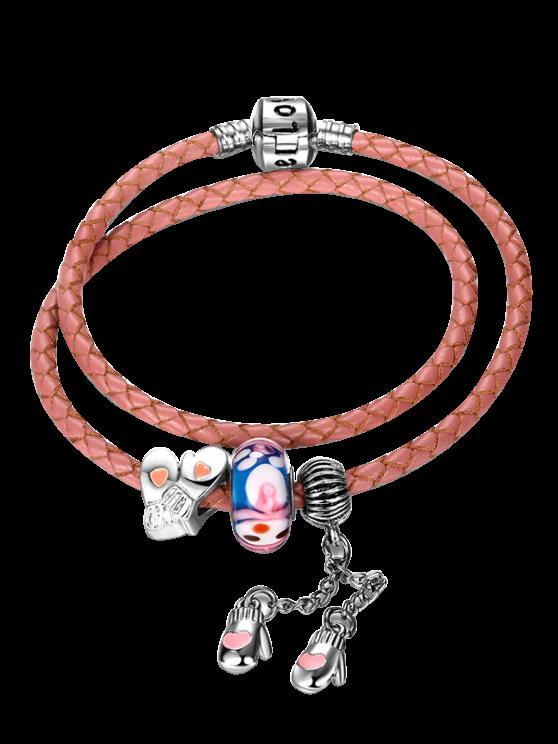 women Engraved Heart Gloves Love Charm Bracelet - PINK