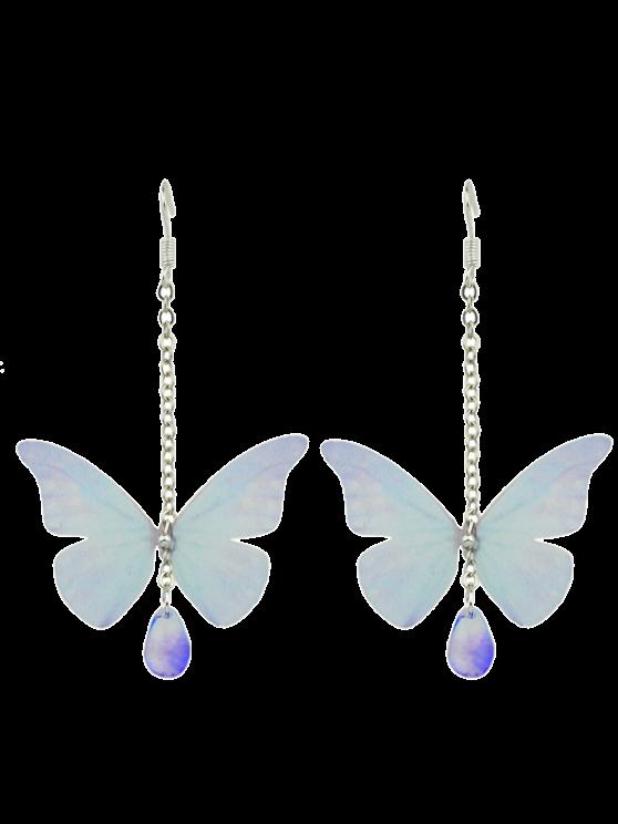 Pendientes de gota de acrílico de la mariposa de la gema - Azul Claro