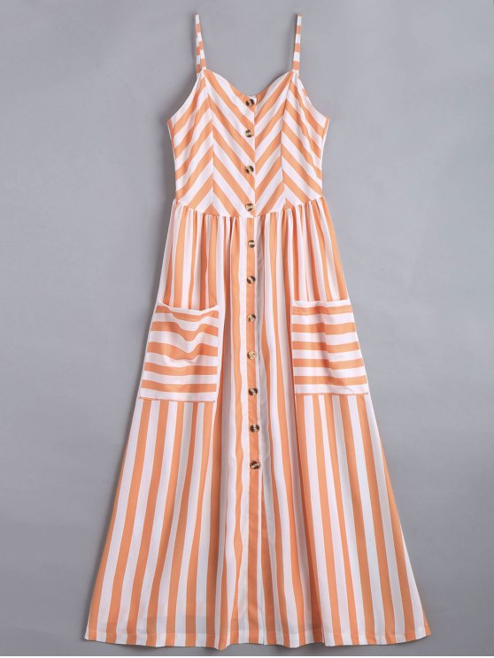 Button Up Striped Cami Dress