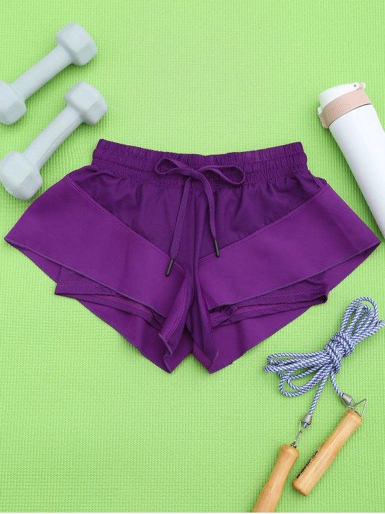 Pantalones cortos de doble capa - Púrpura L