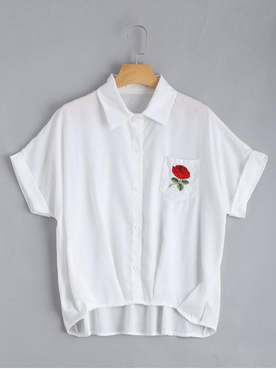Botón hasta la blusa de bolsillo floral remendada - Blanco Única Talla