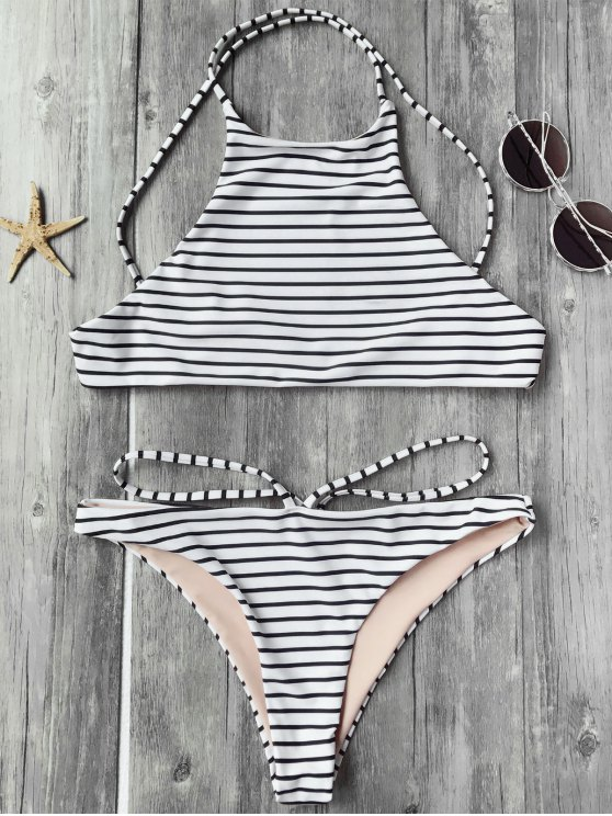 buy Striped High Neck Bikini Top and Bottoms - WHITE AND BLACK S